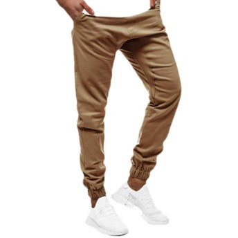 Romancly Mens Solid Athletic Fit Mid Waist Relaxed Fit Pocket Jogging Pants Khaki 2XL