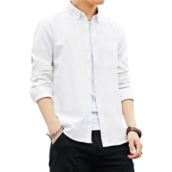 Avangly シャツ メンズ 長袖 オックスフォードシャツ (ホワイト, L)