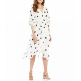 メゾンタラ Maison Tara レディース ワンピース ワンピース・ドレス Polka Dot Balloon Sleeve Hi-Low Belted Faux Wrap Dress Cream/Bla