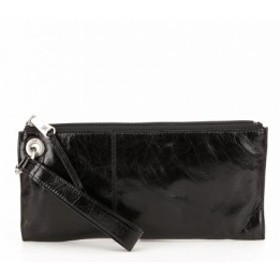 ホーボー Hobo レディース ポーチ Vida Top-Grain Leather Zip Wristlet Black