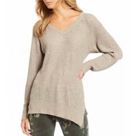エラン ELAN レディース チュニック トップス Asymmetrical V-Neck Side Slit Tunic Knit Sweater Taupe