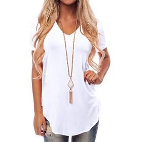 Romancly 女性Vネックストレッチ半袖プラスサイズモーダルチュニックTシャツトップス White M