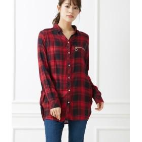 リングZIP付長袖チェックシャツ (ブラウス),Blouses, Shirts