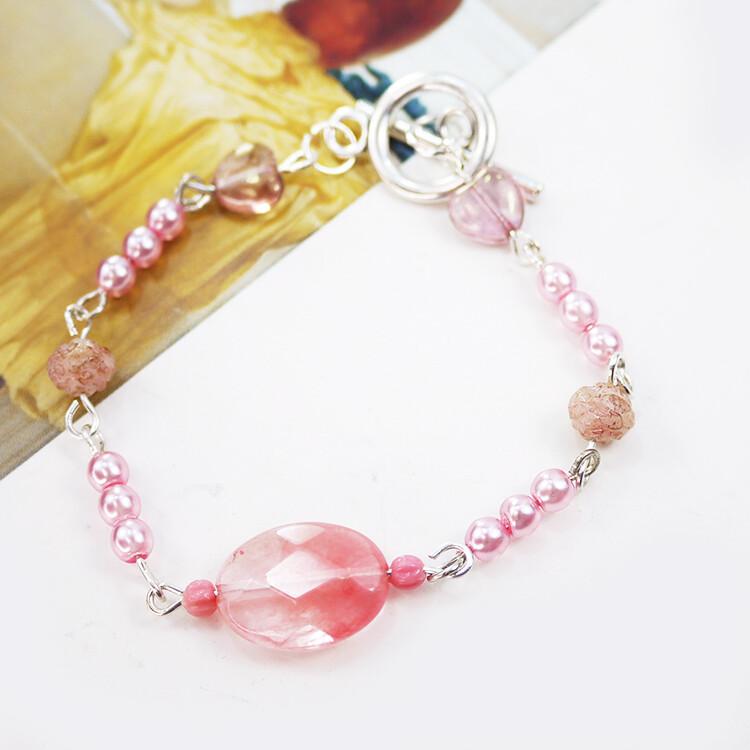 粉紅堂 飾品櫻桃石珍珠手鍊 奶油色 / 粉紅色