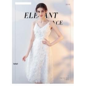 ホワイト パーティドレス キャミソールドレス ワンピース ミニドレス イブニングドレス 二次會 誕生日 お呼ばれ 発表會