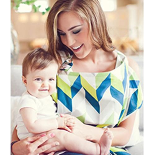 美國Mothers Lounge 美型哺乳巾-藍綠山紋[免運費]