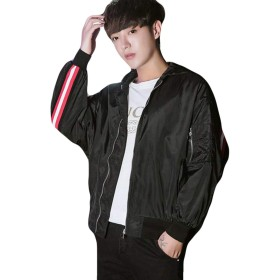 Alppv ブルゾン メンズ ジャケット シンプル 長袖 コート ジャンパー 男 フードを付き ジャケット ゆったり 韓国 ファッション スタンダード アメカジ ストリート系 通学 通学ブラックAL-4