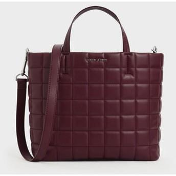 キルトショートストラップ トートバッグ / Quilted Short Strap Tote Bag (Burgundy)
