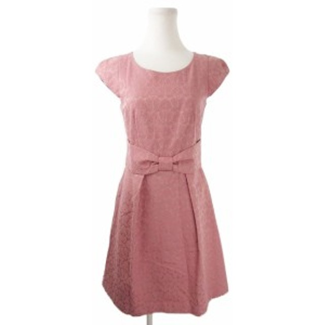 【中古】ルビーリベット Rubyrivet ワンピース ひざ丈 フレア 半袖 キャップスリーブ リボン 花柄 34 ピンク /AH1