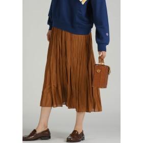 LIPSTAR シャイニーサテンプリーツスカート その他 スカート,キャメル
