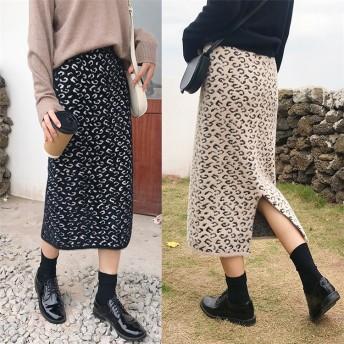 [55555SHOP] 新しい女性の気質は 裏起毛 ロングスカート レオパード レデイーススカート ぬくもり極暖 マキシ暖かい マキシ
