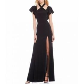 ジル スチュアート Jill Jill Stuart レディース パーティードレス ワンピース・ドレス Halter Ruffle Sleeve Slit Front Gown Black