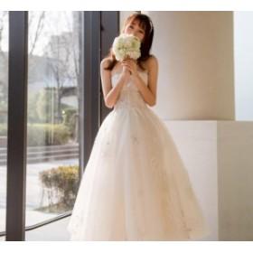 結婚式 ウエディングドレス ベアトップ マキシ丈 ロングドレス ドレス 二次會 花嫁 贅沢 刺繍 お呼ばれ 白 レース 豪華 チ