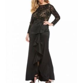 タダシショージ Tadashi Shoji レディース パーティードレス ワンピース・ドレス Plus Size Lace Long Sleeve Taffeta Ruffle Gown Black