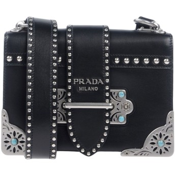 《9/20まで! 限定セール開催中》PRADA レディース メッセンジャーバッグ ブラック 牛革(カーフ) 100%