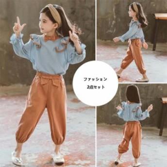 シャツ パンツ セットアップ 2点セット女の子 キッズシャツ 春秋 子供服 韓国風 フリル裾九分丈 パンツ 無地 蝶結び 可愛い