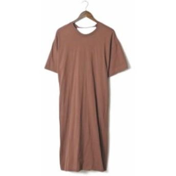 Ray BEAMS レイビームス 19SS バックツイスト Tシャツ ワンピース 63-26-0444-370 フリー ブラウン 半袖
