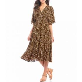 カレッサ Calessa レディース ワンピース ワンピース・ドレス Leopard Print V-Neck Smocked Waist A-Line Midi Dress Black Multi