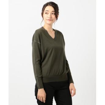 ICB Wool Silk Cashmere Vネック ニット レディース カーキ系 S 【ICB】
