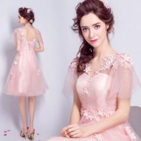 超可愛い ピンク 花 パーティドレス ブライズメイドドレス 花嫁二次會ドレス 披露宴 誕生日 演奏會 発表會 カラードレス