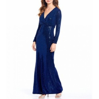 ヴィンス カムート Vince Camuto レディース パーティードレス ワンピース・ドレス Long Sleeve Metallic Sequin Faux-Wrap Gown Navy