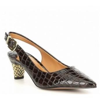 ジェイレニー J. Renee レディース パンプス シューズ・靴 Mayetta Croco Printed Patent Slingback Pumps Brown Croco
