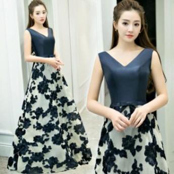 Vネック フェミニン 結婚式 二次會 2018新作 イブニングドレス パーティドレス スレンダーライン ウエディングドレス 上品