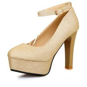 [THLD] レディース パンプス ロリータシューズ 厚底靴 可愛い リボン付き 28.5cm 革靴 防水台 少女 ラウンド先 ラウンド メリージェーン シューズ パンプス 厚底 プリンセススタイル ゴールド ロリータ レディース 12cmハイヒール
