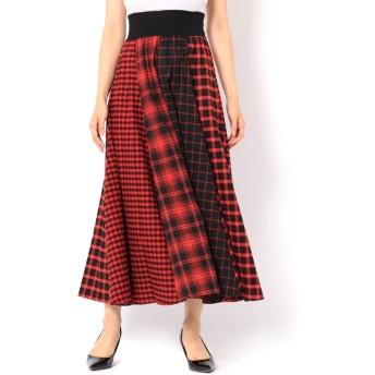 【アンドクチュール/And Couture】 ネルチェックコンビロングスカート