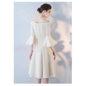 エレガント パーティドレス ベルスリーブ フォーマル ワンピース オフショルダー イブニングドレス ブライズメイドドレス