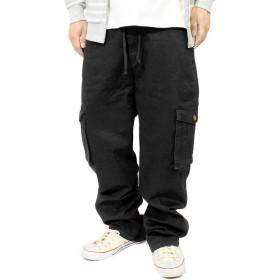 デニム カーゴパンツ メンズ 大きいサイズ ゆったり ワイド ウエストゴム デニムパンツ 七分丈 クロップドパンツ ジーンズ 4L ブラック(カーゴ)