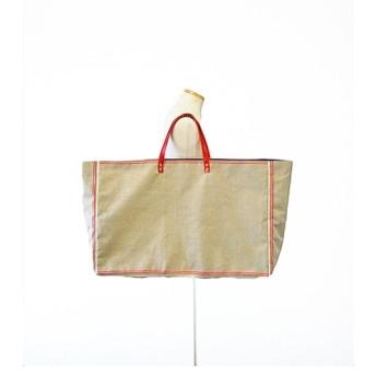 超大容量フランスの麻で仕上げたトートバッグ ボストンバッグ ハンドバッグ リネン 赤革