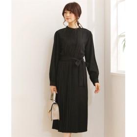 ロング丈ウエストリボン付きプリーツワンピース (ワンピース),dress