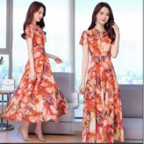 シフォン リボン オシャレ ロング丈ワンピース 著痩せ 韓國風 お出かけ 大きいサイズ 花柄 袖付き 半袖 ファスナー レディー