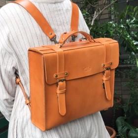 ヌメ革 リュック バックパック キャメル 手縫い ☆送料無料