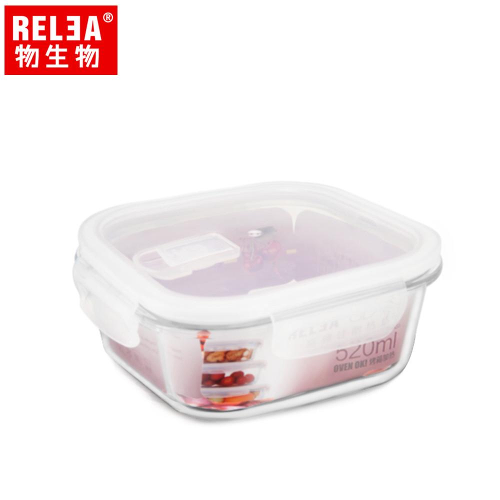 relea物生物 520ml 正方形耐熱玻璃微波保鮮盒