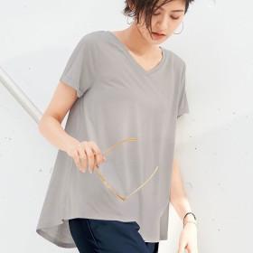 ベルーナ <coorich>シンプルVネックTシャツ グレージュ M レディース
