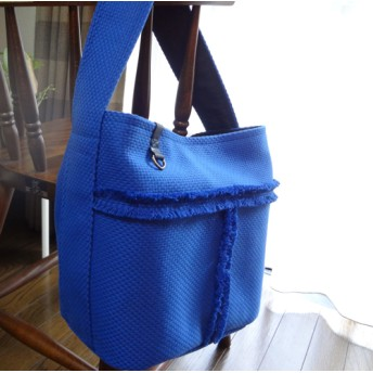 【刺子織】丸底//トートバッグ【ブルー】
