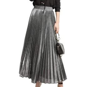 女性スカート金属光沢シマーアコーディオンプリーツロングマキシスカート Silver S