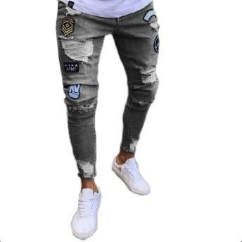Romancly メンズ洗浄ストレッチ弾性底リッピングホールジーンズパンツ 7 2XL