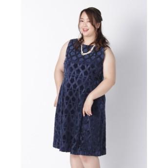 【大きいサイズレディース】ベロアレースドレス ワンピース パーティードレス