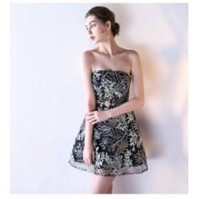 ビスチェタイプ ミニドレス セクシー パーティドレス 刺繍 フォーマル ワンピース イブニングドレス お呼ばれ 発表會 パーティ