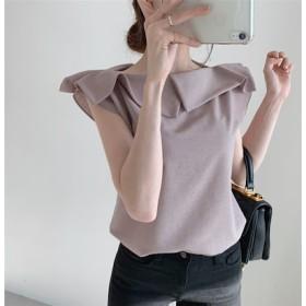 韓国ファッション INS熱い販売 新登場! 2019一字襟 ノースリーブ Tシャツ 大人気 全2色 春夏 新作