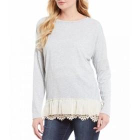 トゥルーラック Tru Luxe Jeans レディース チュニック トップス Lace & Ruffle Hem Knit Cotton Top Light Heather