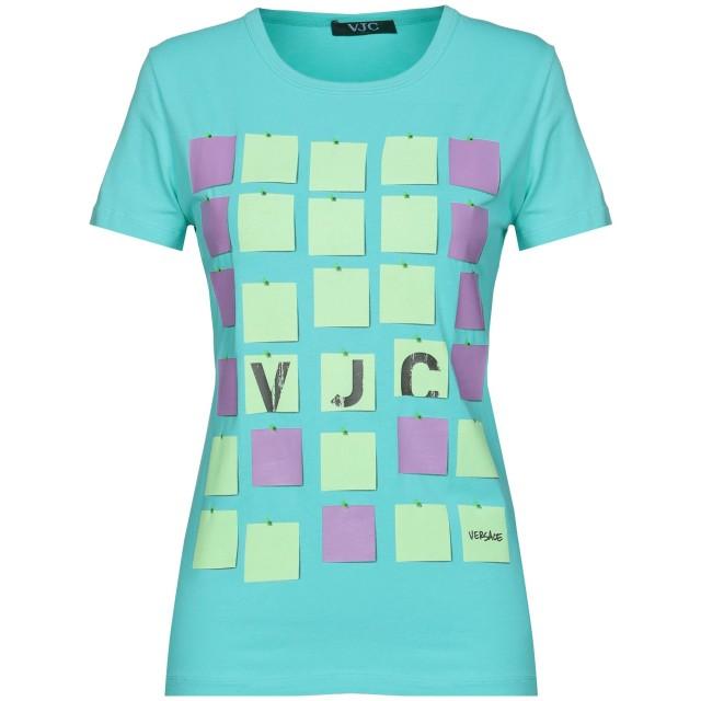 《期間限定セール開催中!》VERSACE レディース T シャツ ターコイズブルー 40 90% コットン 10% ポリウレタン