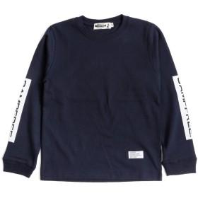 [キャンプフリー] CAMPFREE 袖プリント入り ロングスリーブ Tシャツ [綿 コットン 長袖] M.H.A.style 10148 D.ネイビー×ホワイト