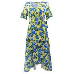 Lwen 夏の女性の半袖Vネック花柄不規則なドレスビーチドレス (色 : イエロー, サイズ : S)