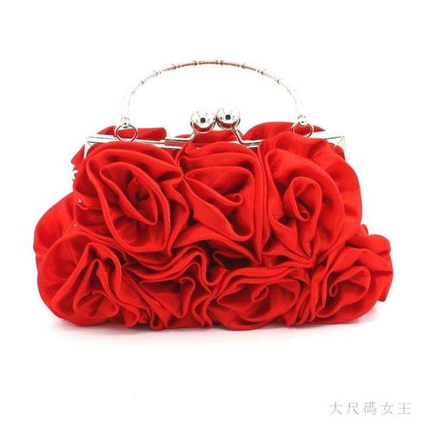 新款甜美淑女手挽新娘包禮服手包女宴會包名媛包包玫瑰花包晚宴包