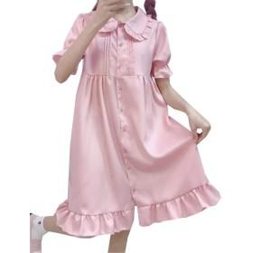 [エージョン] レディース ロリータ ワンピース 半袖 フリル 無地 ゆったり 膝丈 シンプル ファッション ピンク