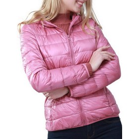 BIUBIONG レディース ダウンジャケット 短い 軽量 長袖 Vネック フードつき タイト 防寒 スポーツ ライトコート 冬